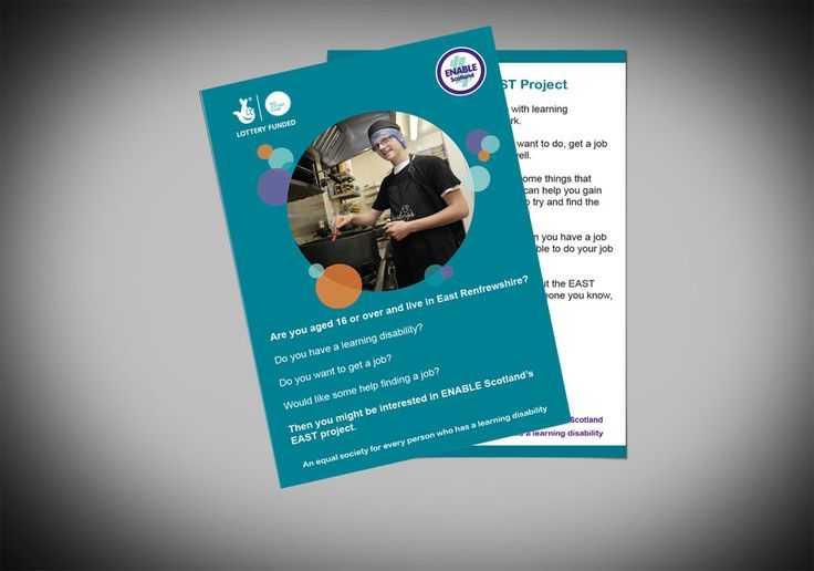 EAST FLYERS (BLUE VERSION) – ENABLE Scotland's double sided flyer design for the EAST Project as a blue version, funded by ENABLE Scotland and The Big Lottery Fund. #graphicdesign #design #marketing #branding #employment #jobs