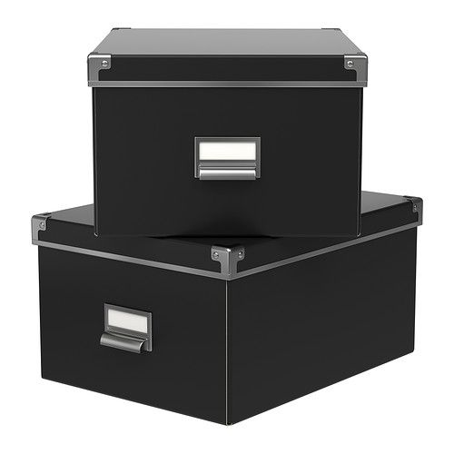 KASSETT Box with lid - black, 10 ¾x13 ¾x7