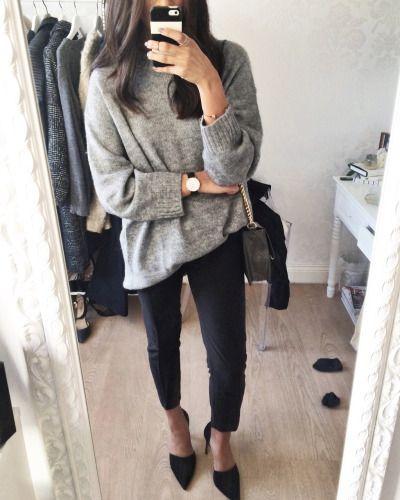 Sweater, jcrew blk pants, blue d'orsay flats