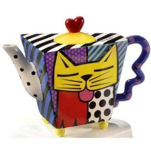 Romero Britto Collectible Yellow Cat Teapot