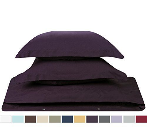 Duvet Cover for a Duvet Insert Comforter Queen Size Purple Eggplant Solid Color 100 Double Brushed Microfiber Fabric 1800 Series Luxury Bedding Collection Hypoallergenic Most Cozy Comfortable Bedroom Set on Amazon Basic 3Piece Set Includes Silky Soft Duvet Cover with Pillow Shams Supreme Quality Bed Linen Sale by Nestl Bedding >>> Want to know more, click on the image.