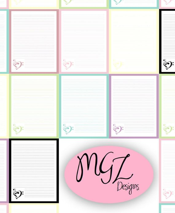 Music Letter/Journal Paper  Blank  7 Colors by MgzDesigns on Etsy