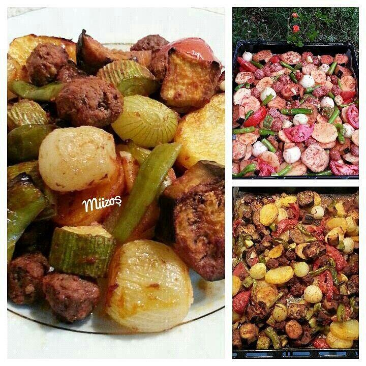 Fırında patlıcan, kabak, patates, sivri biber, domates, soğan, sarımsak,köfte, kara biber, tuz, sıvıyağ, salça karışımı ile türlü.Pratik, lezzetli,hiç dağılmadan tane tane pişiyor.