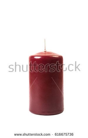 Purple candle on white background