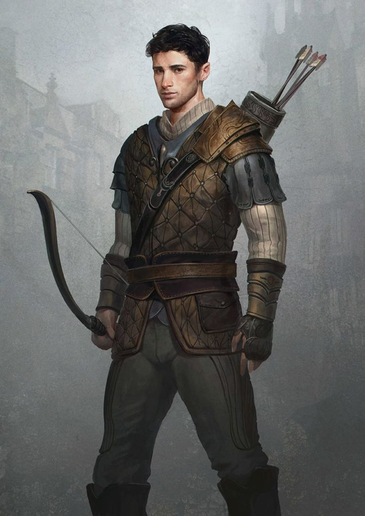 Cord Sullivan by GerryArthur ranger archer fighter hunter bow arrows leather padded armor clothes clothing fashion player character npc | Create your own roleplaying game material w/ RPG Bard: www.rpgbard.com | Writing inspiration for Dungeons and Dragons DND D&D Pathfinder PFRPG Warhammer 40k Star Wars Shadowrun Call of Cthulhu Lord of the Rings LoTR + d20 fantasy science fiction scifi horror design | Not Trusty Sword art: click artwork for source