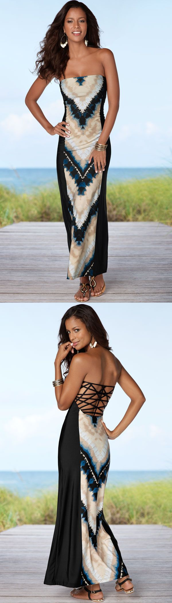 Move in style with this gorgeous back detail tye die maxi! Venus tie dye maxi and snake detail sandal.