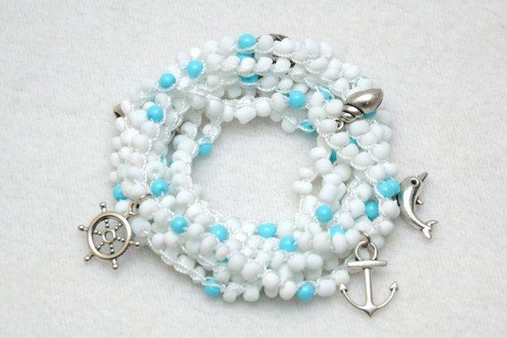 Nautische armband gehaakte armband Wrap door PrettyCrochetForYou