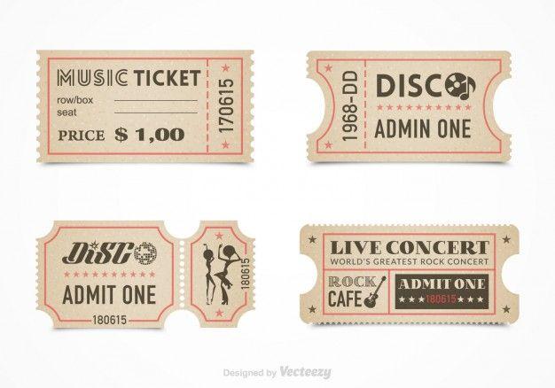 Ticket Vorlage Satz Kostenlose Vektoren