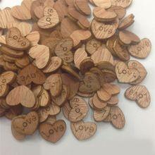 100 Шт./упак. Любовь Heart Shape Вуд Швейные Назначение Свадебные Украшения Бесплатная Доставка(China (Mainland))