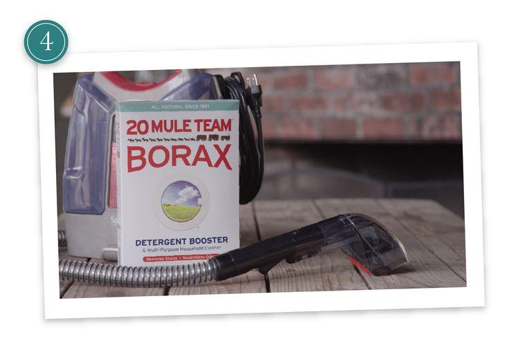 1/2 c Borax + 1 gal hot water. Use to steam clean carpet.