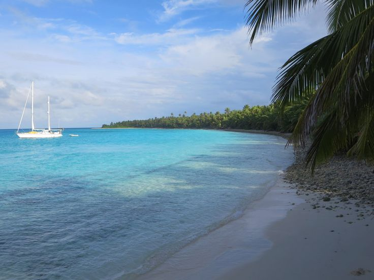 Cruising yachts tend to anchor in the protected waters off Direction Island, Cocos (Keeling) Islands.