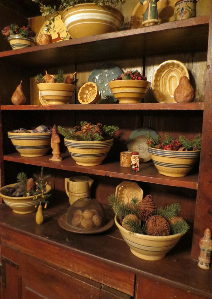 I hope those bowls are filled with wonderful smells of cinnamon, evergreen and spices!! cm```````yellow ware