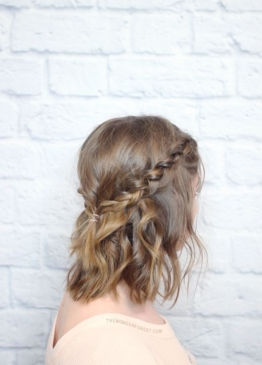 15 Natural Wedding Hair Styles: Natural messy plaited crown for short wedding hair http://thenaturalweddingcompany.co.uk/blog/