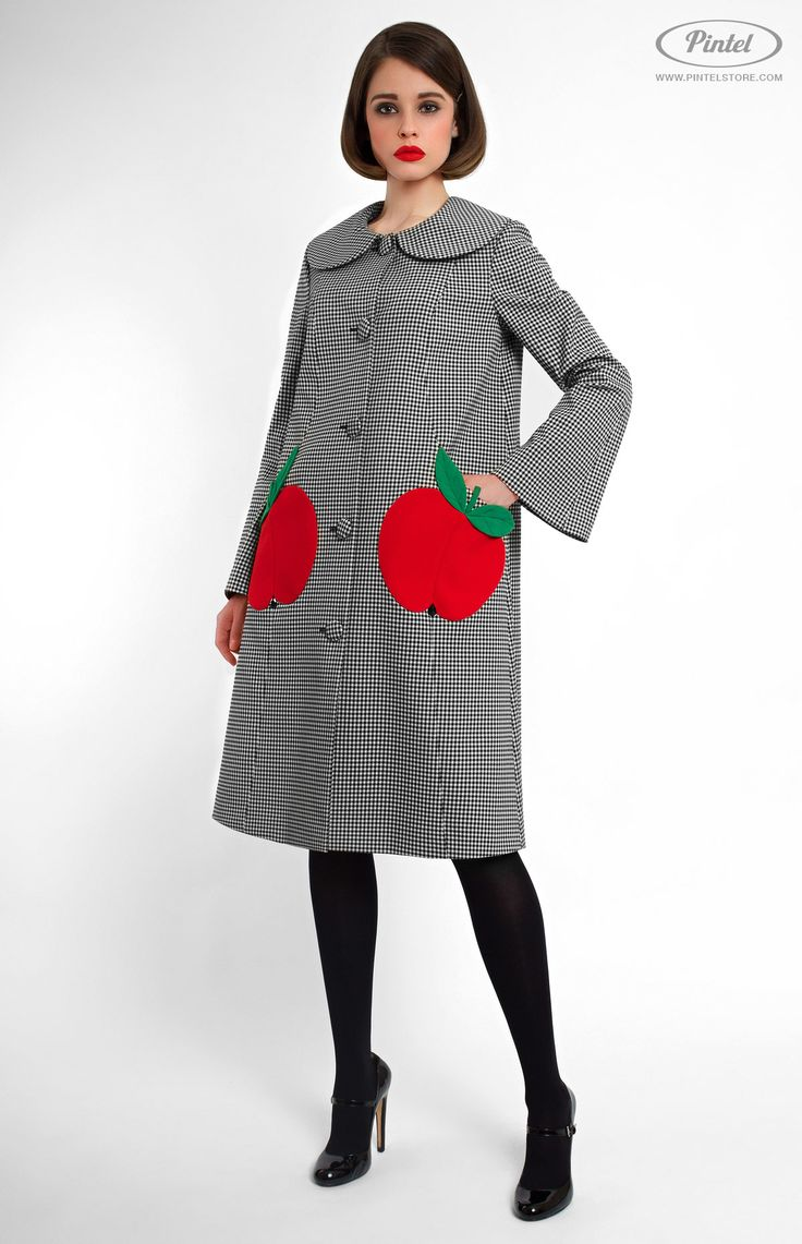 Thick cotton A-shape coat with bell-shaped sleeves and buttons in front. Turndown rounded collar. Back box pleat. Side pockets with designer decoration. On the photo: model is wearing a size S and is 177 cm.  #Pintel #pintelstore
