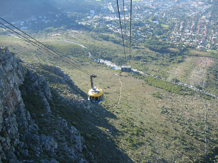 Going up Table Mtn in Cape Town