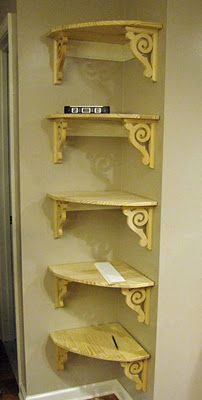 DIY:  Hang Your Own Corner Shelving - Think I'll to this in my kitchen above the sink (much smaller of course)