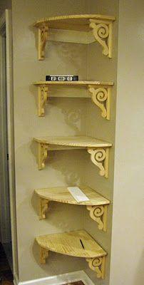 corner shelves - great in the kitchen for cookbooks