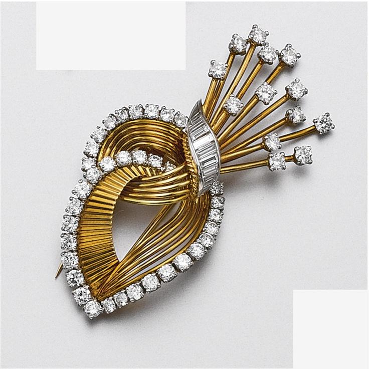 18 каратного золота и бриллиантовая брошь, Картье, Париж, около 1950 - Сотбис