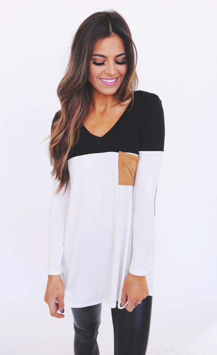 Black/White/Camel Pocket Tunic - Dottie Couture Boutique