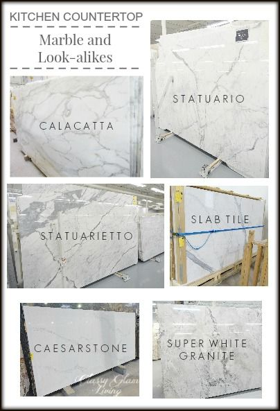 Marble look countertops