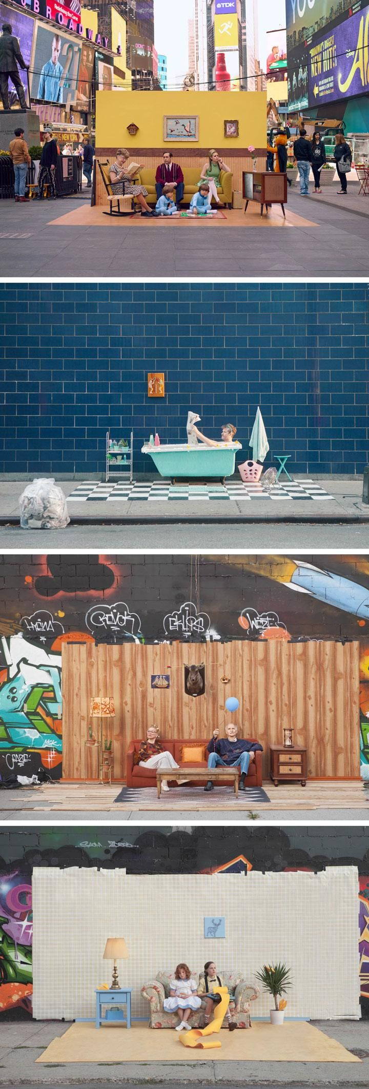 #Setinthestreet is an ongoing art project by photographer Justin Bettman. Bettman collects unwanted furniture and create elaborate home sets with Wes Anderson–inspired aesthetic on random streets in New York.