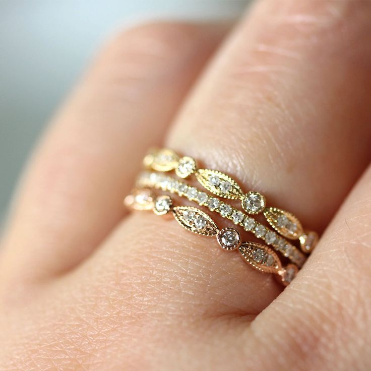 Micro Pave White Diamond Band in 14K Gold (size 4 - 7) - Made To Order.  , via Etsy.
