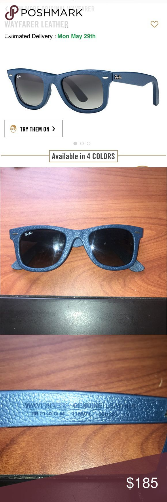 Ray-Ban Wayfare Blue Leather Never been worn Ray-Bans Wayfare Blue Leather Ray-Ban Accessories Sunglasses
