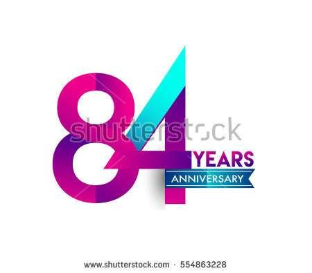 eighty four years anniversary celebration logotype colorfull design with blue ribbon, 84th birthday logo on white background