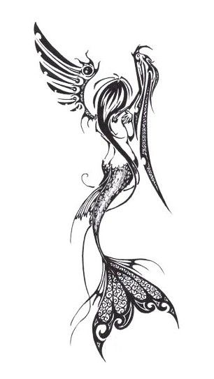 Mermaid Angel Fairy Tattoo...like the idea...lots going on. Color would be cool. Tattoo inspiration.