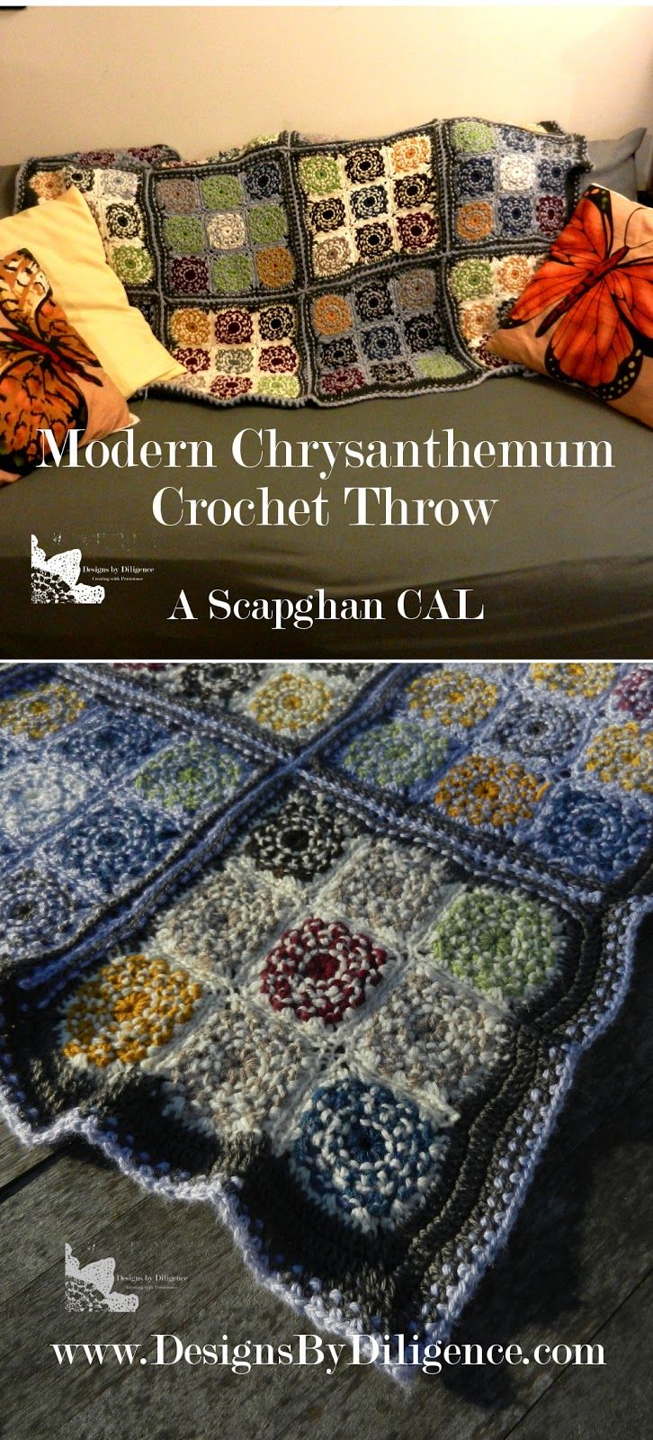 The modern Chrysanthemum Throw is a free crochet pattern for a throw Scrapghan to use up all those leftover yarn scraps. The #ModMumCAL is found on designs by Diligence #freecrochetpattern #crochet #Ravelry #scrapyarn