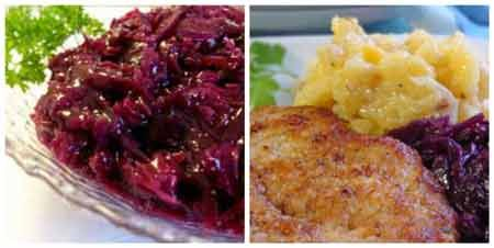 German Food Recipes: red cabbage and schnitzel