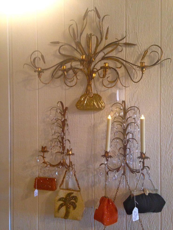 (Top) Italian gold wheat sconce... $145 (Bottom) Set of 2 Luminara taper candles... $65