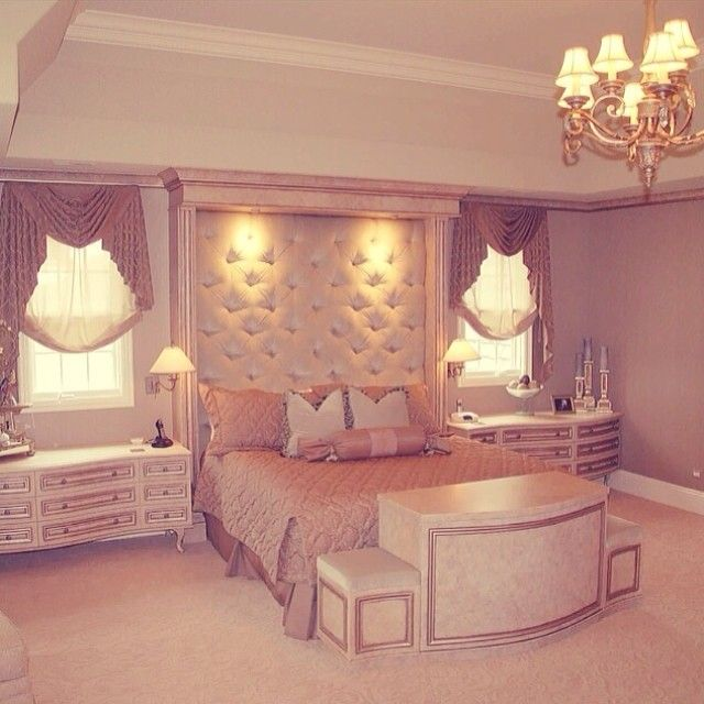 Double size bed and side tables with drawers and lamps in traditional bedroom design ideas find this pin and more on pink bedrooms