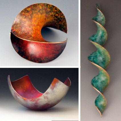 "Top left, Hyperbolic Paraboloid Extension; right, Double Helix; both by Michael Good.  Patinas by Carlton Leavitt.  Pictures from ""Creative Metal Forming"", a book by Cynthia Eid and Betty Helen Longhi."