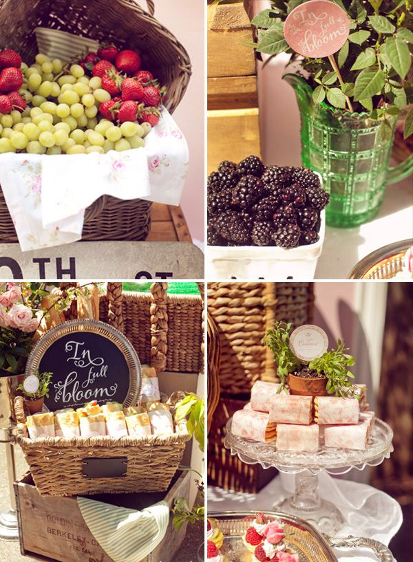French Bistro theme! Chalkboards, fresh fruit, sandwiches, pastries, planters with forks as label holders, mason jars for cutlery, Bébé, Mercie    LOVE THIS!