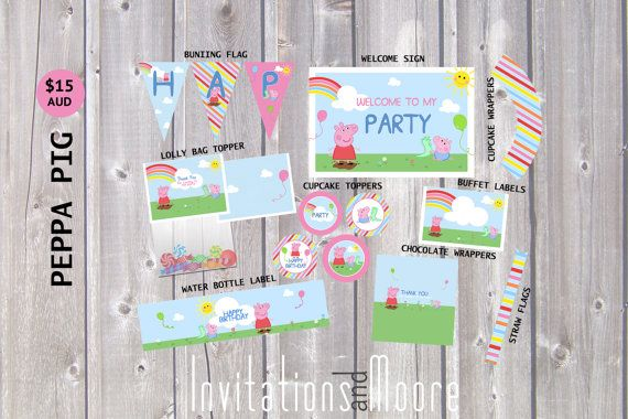 Peppa Pig Party Pack by moorecreativestore on Etsy