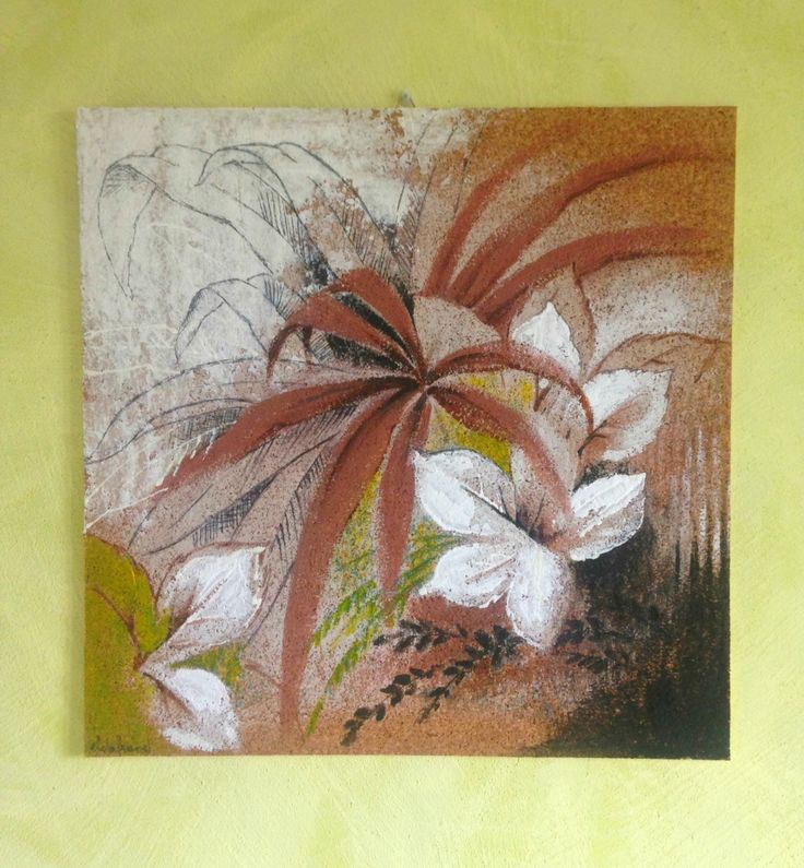 Dipinto originale foglie su sughero/ Foglie dipinte su sughero/ Arte pittorica/ Arte e oggetti da collezione/ Pittura materiali particolari di PaintingsByCipeciop su Etsy