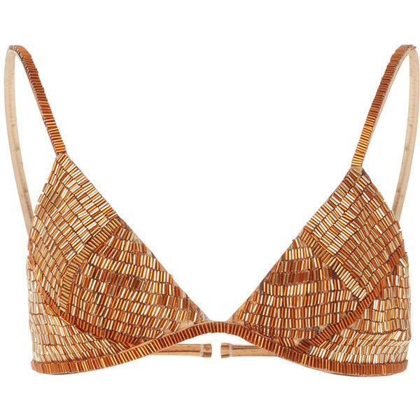 Agua de Coco Palhas Beaded Bikini Top ($575) ❤ liked on Polyvore featuring swimwear, bikinis, bikini tops, metallic, beaded bikini top, triangle swim wear, beaded bikini, tankini tops and triangle swim top