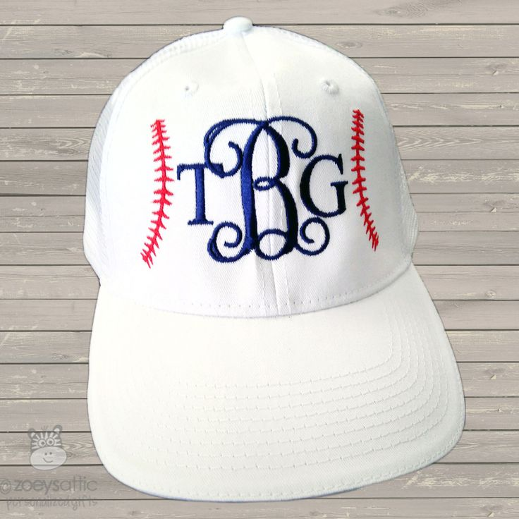 monogram embroidered baseball cap, custom baseball hat