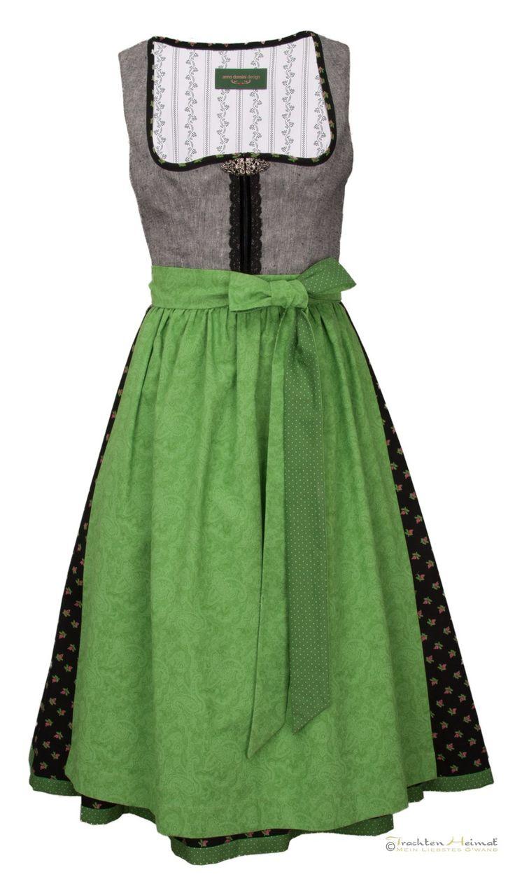 Dirndl Anno Domini Design Anastasia apfel grau schwarz 70cm