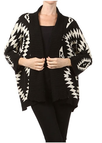 Open Front Aztec Cardigan in Black... I HAVE THIS
