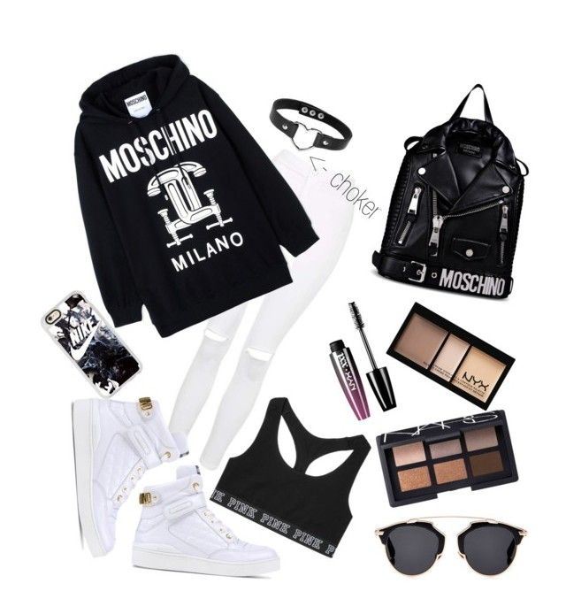 """MY $ELF"" by cavffeine ❤ liked on Polyvore featuring Topshop, Moschino, Victoria's Secret, Forever 21, NYX, NARS Cosmetics, Casetify and Christian Dior"