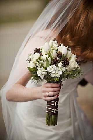 Pine cone bouquet - too plain? :  wedding bouqet pine cone Pinecone