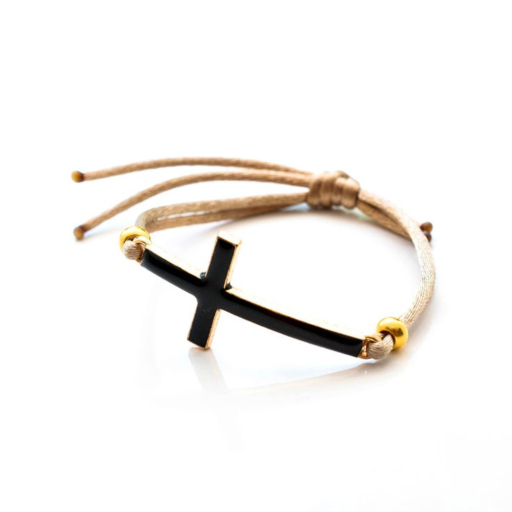 #Black #cross #bracelet by Sofia #Dristela