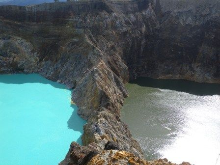 Mt Kelimutu on the island of Flores with its three colored lakes
