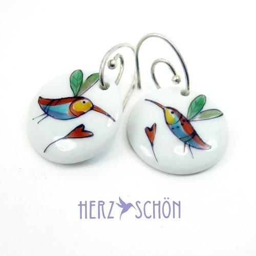 Handbemalte Ohrringe Ohrhänger Kolibri Ohrringe