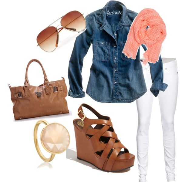 denim shirt: Shoes, White Skinny, Jeans Shirts, Chambray Shirts, Denim Shirts, White Pants, Wedges, White Jeans, Spring Outfits