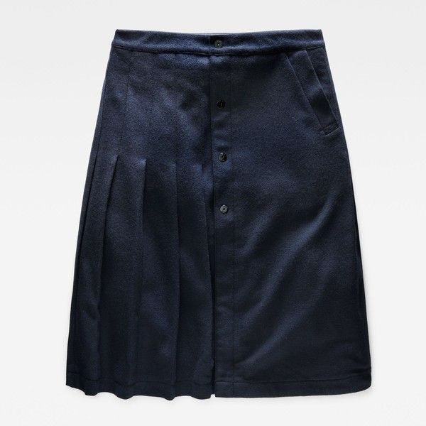 G-Star RAW Bronson Plissee Skirt (360 NZD) ❤ liked on Polyvore featuring skirts, draped skirt, g-star raw and blue skirt
