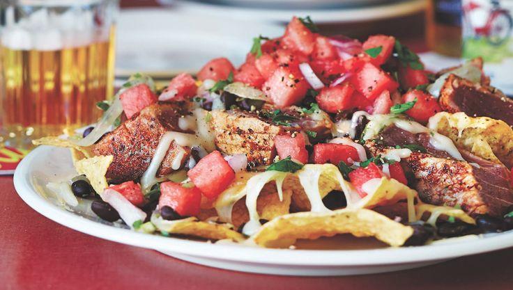Blackened Tuna Nachos With Watermelon Pico De Gallo