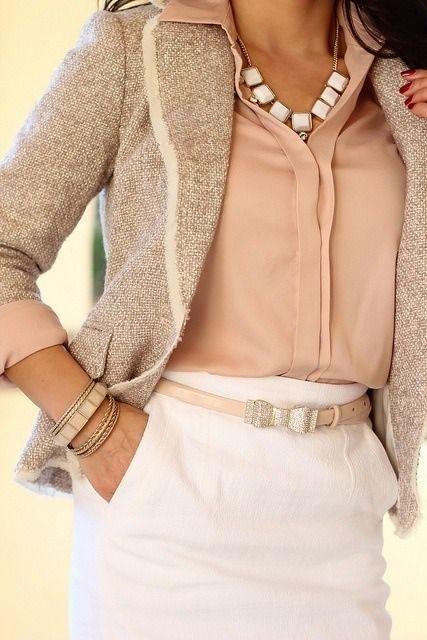 Work attire. White skirt, beige tie jacket, peach ...